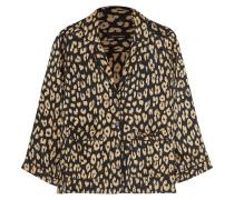 Lake Pyjama-Hemd aus vorgewaschener Seide mit Leopardenprint