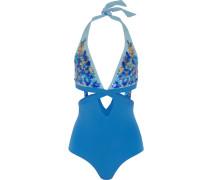 Floral Rhapsody Paillettenverzierter Badeanzug Mit Neckholder Und Cut-outs -