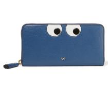 Eyes Geprägtes Portemonnaie Aus Strukturiertem Leder - Blau