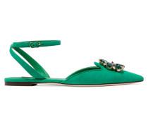 Bellucci Flache Schuhe Aus Veloursleder Mit Spitzer Kappe Und Kristallverzierung - Jade