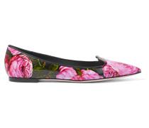 Flache Schuhe Mit Spitzer Kappe Aus Glanzleder Mit Floralem Print - Pink