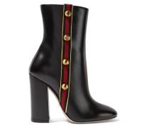 Ankle Boots Aus Leder Mit Canvas-besatz Und Verzierungen -
