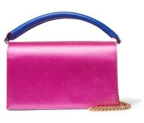 Soirée Schultertasche aus Satin und Leder in Colour-block-optik -