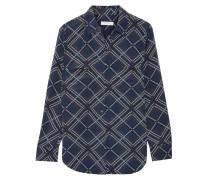 Slim Signature Bedrucktes Hemd Aus Vorgewaschener Seide - Navy