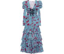 Zingara Robe Aus Floral Bedrucktem Seiden-crêpe Mit Rüschen -
