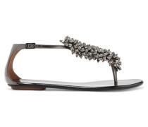 Monaco Sandalen Aus Metallic-leder Mit Perlenverzierung -