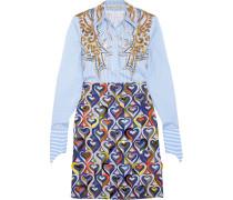 Montague Bedrucktes Hemdblusenkleid Aus Einer Baumwollmischung Mit Verzierung - Blau