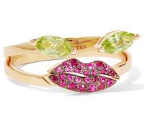 Ring Aus 18 Karat Gold Mit Peridoten Und Rubinen