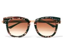 Mondanity Sonnenbrille Mit Cat-eye-rahmen Aus Azetat Mit Roségoldfarbenen Details - Rauchblau
