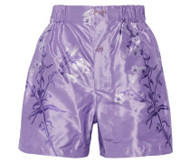 Shorts aus Seiden-Jacquard mit Blumenprint