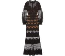 Robe Aus Guipure-spitze Aus Einer Baumwollmischung Und Tüll Mit Eingewebten Punkten -