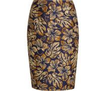 Bleistiftrock aus Metallic-Jacquard mit Blumenprint