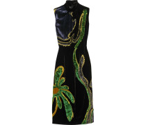 Kleid Aus Samt Mit Einsatz Und Applikationen - Navy