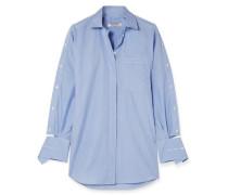 Gestreiftes Hemd aus Baumwollpopeline mit Cut-outs -