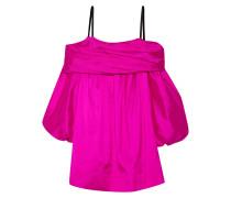 Schulterfreies Kleid Aus Seidentaft - Fuchsia