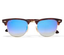 Clubmaster Verspiegelte Sonnenbrille Mit Eckigem Rahmen Aus Azetat Und Goldfarbenen Details - Blau