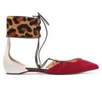 Corsankle Flache Schuhe Mit Spitzer Kappe Aus Kalbshaar Mit Leopardenprint, Veloursleder Und Leder -