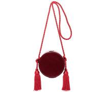 Tasseled Collarbox Schultertasche aus Glanzleder -