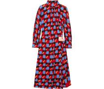 Gathered Bedrucktes Kleid Aus Georgette -