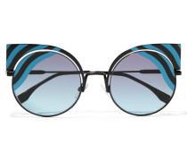 Sonnenbrille Mit Cat-eye-rahmen Aus Metall - Blau