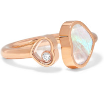 Happy Hearts Ring aus 18 Karat  mit Perlmutt und Einem Diamanten