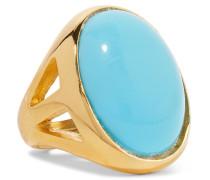 Vergoldeter Ring Mit farbenem Stein