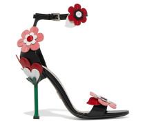 Sandalen Aus Lackleder Mit Blumenapplikationen -