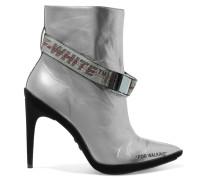 For Walking Ankle Boots Aus Metallic-leder Und Veloursleder Mit Schnallen -