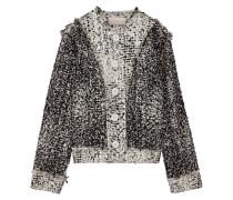 Jacke Aus Bouclé-tweed Aus Einer Wollmischung In Metallic-optik Mit Fransen - Grau