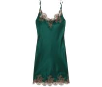Hôtel Particulier Nachthemd Aus Seidensatin Mit Besatz Aus Chantilly-spitze - Smaragdgrün