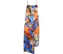 Drapiertes Kleid Aus Wollsatin Mit Floralem Print - Blau