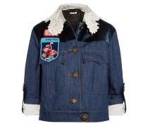 Verzierte Jeansjacke Mit Samtbesatz - Mittelblauer Denim