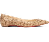 Anjalina nietenverzierte flache Schuhe aus Kork mit Schlangeneffekt und spitzer Kappe