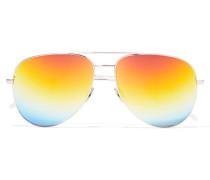 Silberfarbene Pilotensonnenbrille Mit Verspiegelten Gläsern -