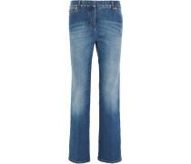 Halbhohe verkürzte Boyfriend-Jeans mit Nieten
