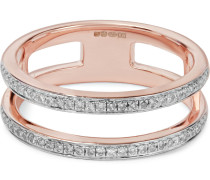 Skinny Double Band Ring mit Roségoldauflage und Diamanten