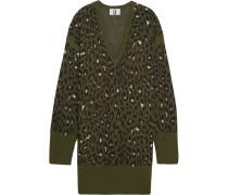 Exhall Pulloverkleid Aus Jacquard-strick Mit Leoparden-intarsienmuster - Armeegrün
