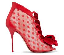 Mitsy Stiefel aus Polka-Dot-Tüll und Leder mit Samtbesatz