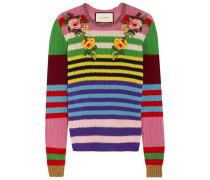 Pullover Aus Einer Gestreiften Woll-kaschmirmischung Mit Applikation - Pink