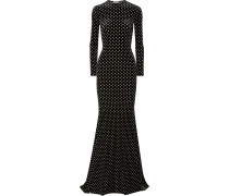 Robe aus Stretch-samt mit Polka-dots