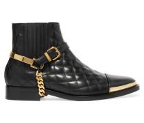 Verzierte Ankle Boots Aus Gestepptem Leder - Schwarz