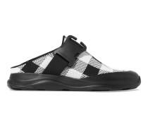 Sneakers Aus Stretch-strick In Gingham-karo Mit Schnallen -