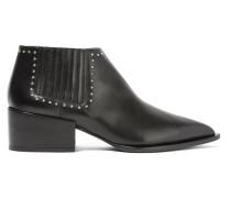 Ankle Boots Aus Schwarzem Leder Mit Nieten