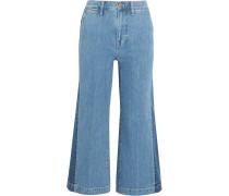 Verkürzte Jeans Mit Weitem Bein Und Streifen -