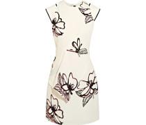 Minikleid Aus Cloqué Mit Blumenprint - Weiß