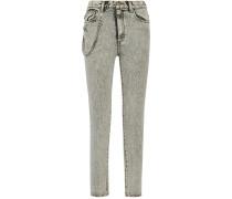 Hoch Sitzende Skinny Jeans Mit Applikation Und Verzierung - Hellgrau