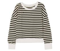 West Village Verziertes, Gestreiftes Jersey-sweatshirt aus einer Baumwollmischung in Distressed-optik -