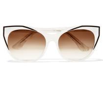 Polygamy Sonnenbrille Mit Cat-eye-rahmen Aus Azetat Mit Stahlgrauen Details - Elfenbein