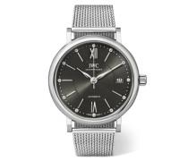 Portofino Automatic 37 Mm Uhr aus Edelstahl mit Diamanten -