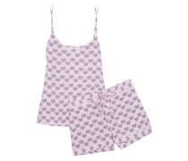 Layla Bedruckter Pyjama Aus Vorgewaschener Seide - Babypink